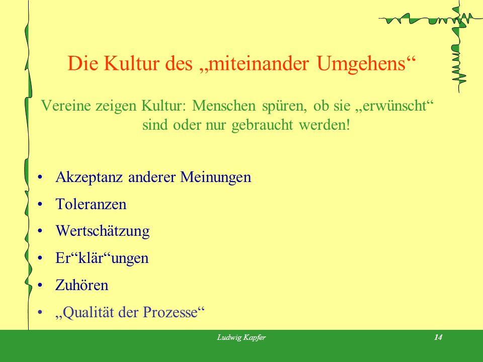 Ludwig Kapfer14 Die Kultur des miteinander Umgehens Vereine zeigen Kultur: Menschen spüren, ob sie erwünscht sind oder nur gebraucht werden.