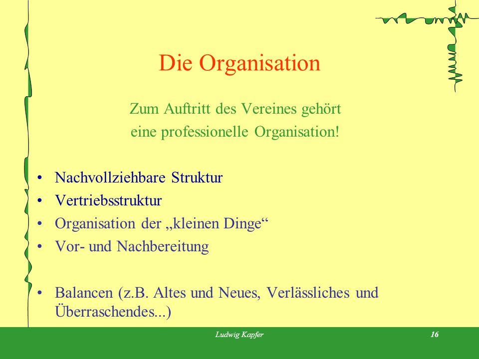 Ludwig Kapfer16 Die Organisation Zum Auftritt des Vereines gehört eine professionelle Organisation.