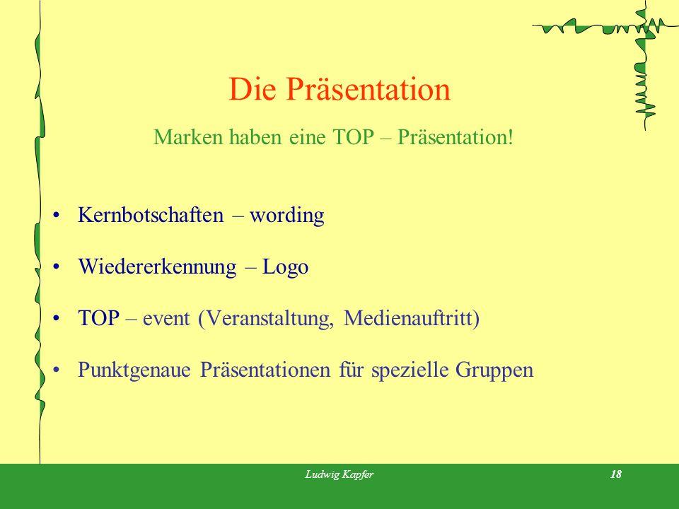 Ludwig Kapfer18 Die Präsentation Marken haben eine TOP – Präsentation.