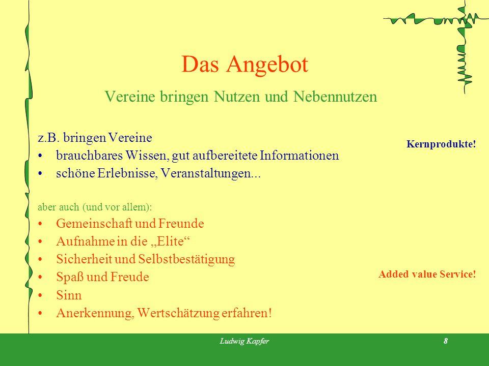 Ludwig Kapfer8 Das Angebot Vereine bringen Nutzen und Nebennutzen z.B.