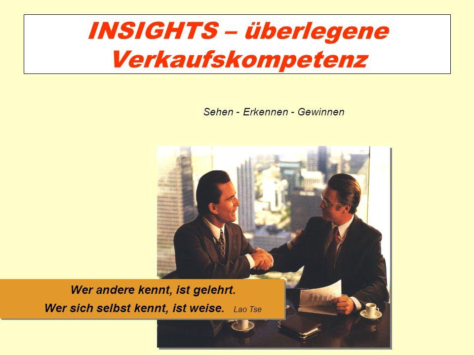 INSIGHTS – überlegene Verkaufskompetenz Wer andere kennt, ist gelehrt. Wer sich selbst kennt, ist weise. Lao Tse Sehen - Erkennen - Gewinnen