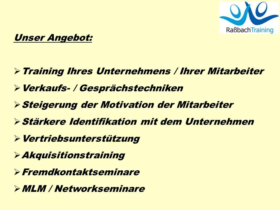 Unser Angebot: Training Ihres Unternehmens / Ihrer Mitarbeiter Verkaufs- / Gesprächstechniken Steigerung der Motivation der Mitarbeiter Stärkere Ident