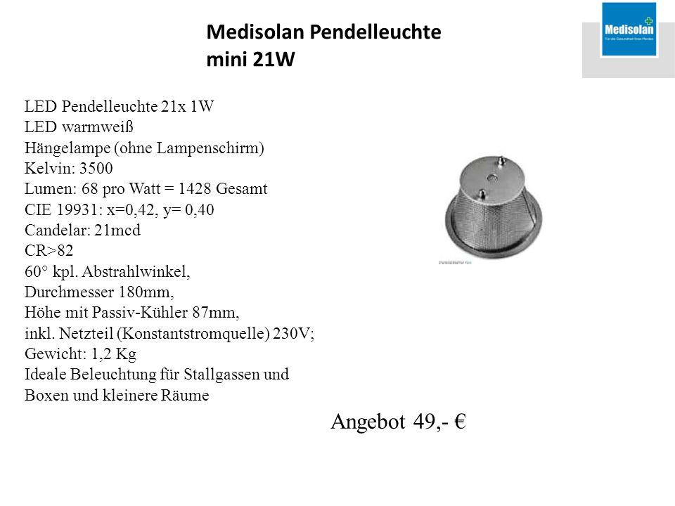 LED Pendelleuchte 21x 1W LED warmweiß Hängelampe (ohne Lampenschirm) Kelvin: 3500 Lumen: 68 pro Watt = 1428 Gesamt CIE 19931: x=0,42, y= 0,40 Candelar: 21mcd CR>82 60° kpl.