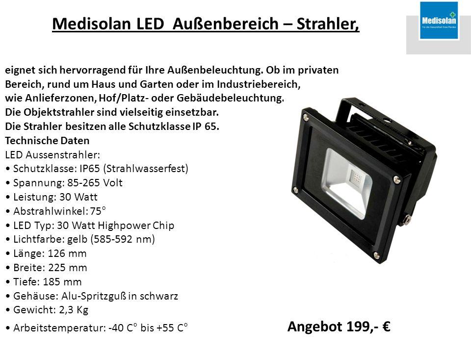 Medisolan LED Außenbereich – Strahler, eignet sich hervorragend für Ihre Außenbeleuchtung. Ob im privaten Bereich, rund um Haus und Garten oder im Ind