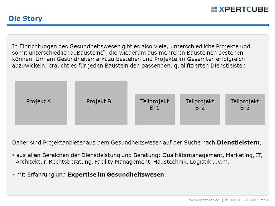www.xpertcube.de | © 2009 XPERTCUBE GmbH Die Story In Einrichtungen des Gesundheitswesen gibt es also viele, unterschiedliche Projekte und somit unterschiedliche Bausteine, die wiederum aus mehreren Bausteinen bestehen können.