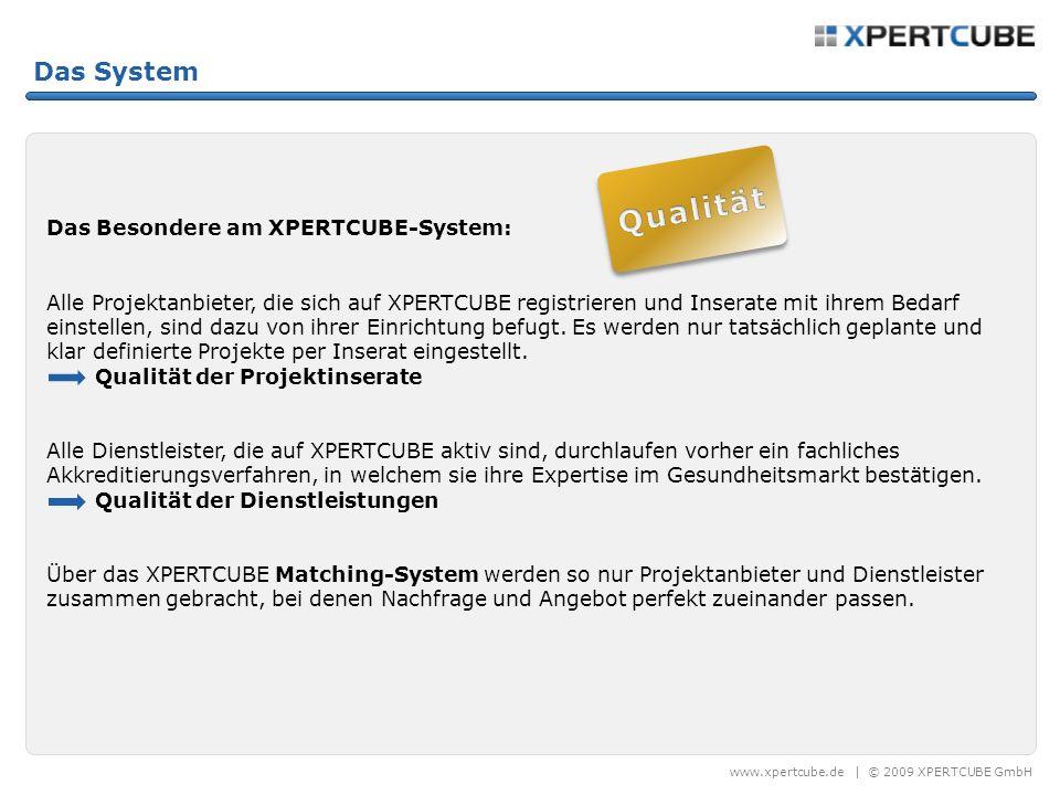 www.xpertcube.de | © 2009 XPERTCUBE GmbH Das System Das Besondere am XPERTCUBE-System: Alle Projektanbieter, die sich auf XPERTCUBE registrieren und Inserate mit ihrem Bedarf einstellen, sind dazu von ihrer Einrichtung befugt.