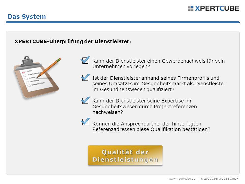 www.xpertcube.de   © 2009 XPERTCUBE GmbH Das System Kundenzufriedenheit Dienstleister Registrierung Akkreditierung Hochwertige Dienstleistungen USP Kundenzufriedenheit QUALITÄT Projektanbieter Registrierung Befugnis Klar definierte Projekte