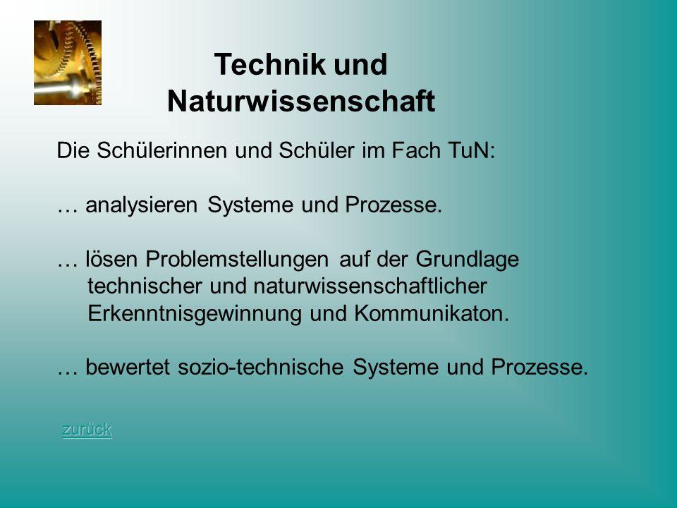 Technik und Naturwissenschaft Die Schülerinnen und Schüler im Fach TuN: … analysieren Systeme und Prozesse. … lösen Problemstellungen auf der Grundlag