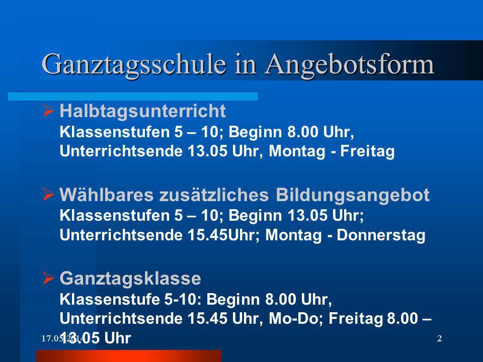 17.05.20142 Ganztagsschule in Angebotsform Halbtagsunterricht Klassenstufen 5 – 10; Beginn 8.00 Uhr, Unterrichtsende 13.05 Uhr, Montag - Freitag Wählb