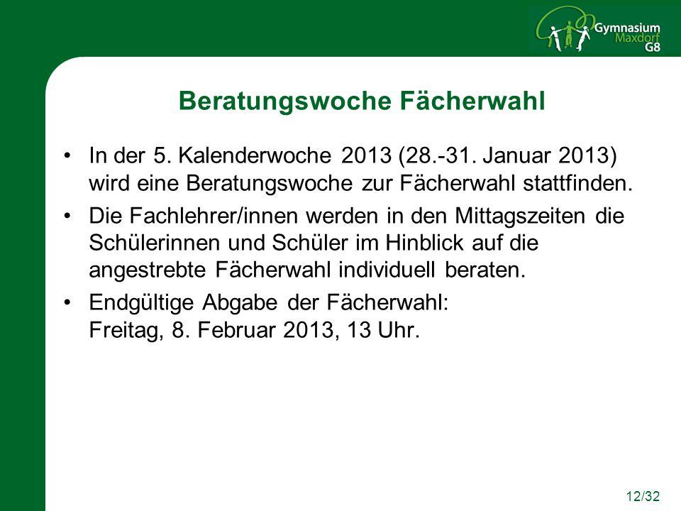 12/32 Beratungswoche Fächerwahl In der 5. Kalenderwoche 2013 (28.-31. Januar 2013) wird eine Beratungswoche zur Fächerwahl stattfinden. Die Fachlehrer