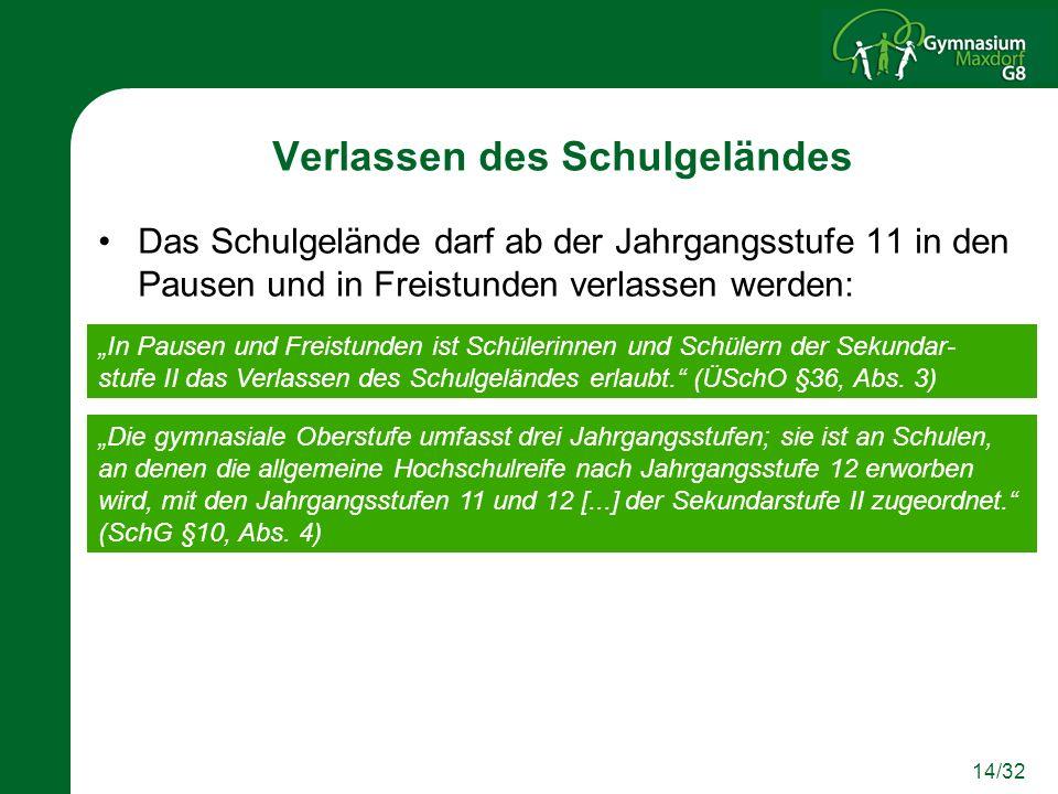 14/32 Verlassen des Schulgeländes Das Schulgelände darf ab der Jahrgangsstufe 11 in den Pausen und in Freistunden verlassen werden: In Pausen und Frei