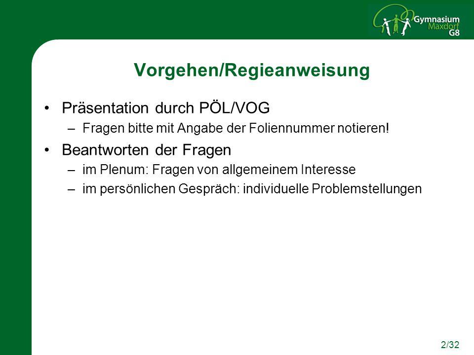 2/32 Vorgehen/Regieanweisung Präsentation durch PÖL/VOG –Fragen bitte mit Angabe der Foliennummer notieren! Beantworten der Fragen –im Plenum: Fragen