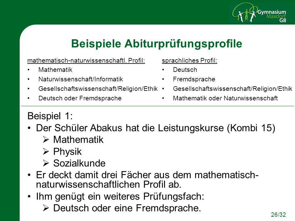26/32 Beispiele Abiturprüfungsprofile mathematisch-naturwissenschaftl. Profil: Mathematik Naturwissenschaft/Informatik Gesellschaftswissenschaft/Relig
