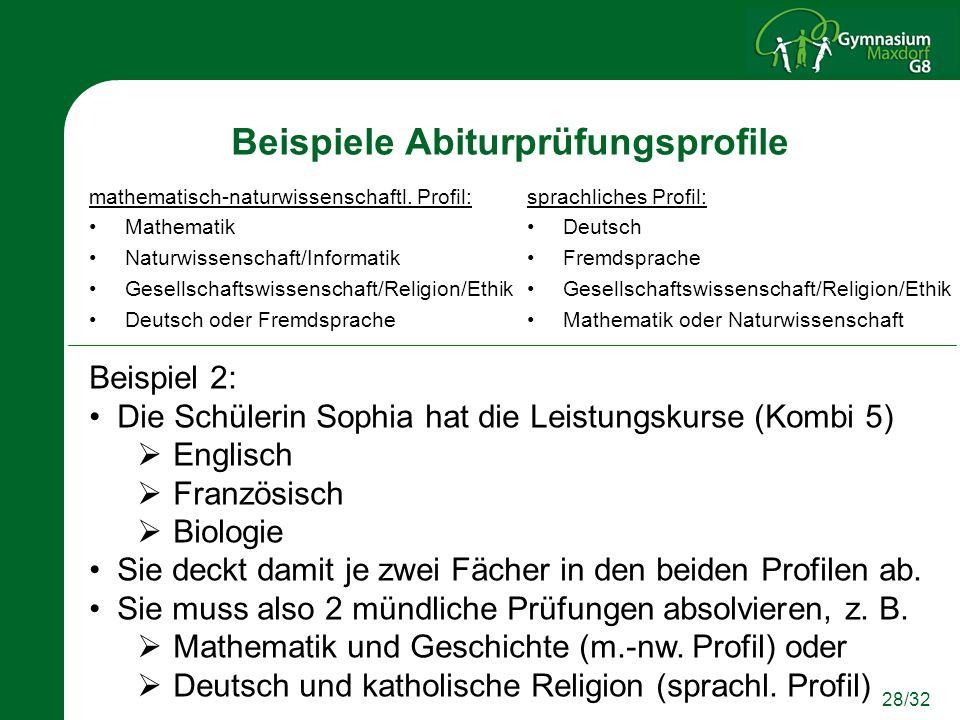 28/32 Beispiele Abiturprüfungsprofile mathematisch-naturwissenschaftl. Profil: Mathematik Naturwissenschaft/Informatik Gesellschaftswissenschaft/Relig