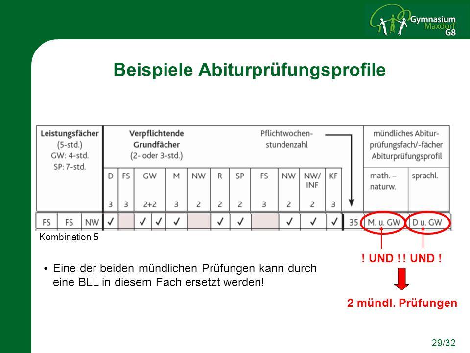 29/32 Beispiele Abiturprüfungsprofile ! UND ! 2 mündl. Prüfungen Eine der beiden mündlichen Prüfungen kann durch eine BLL in diesem Fach ersetzt werde