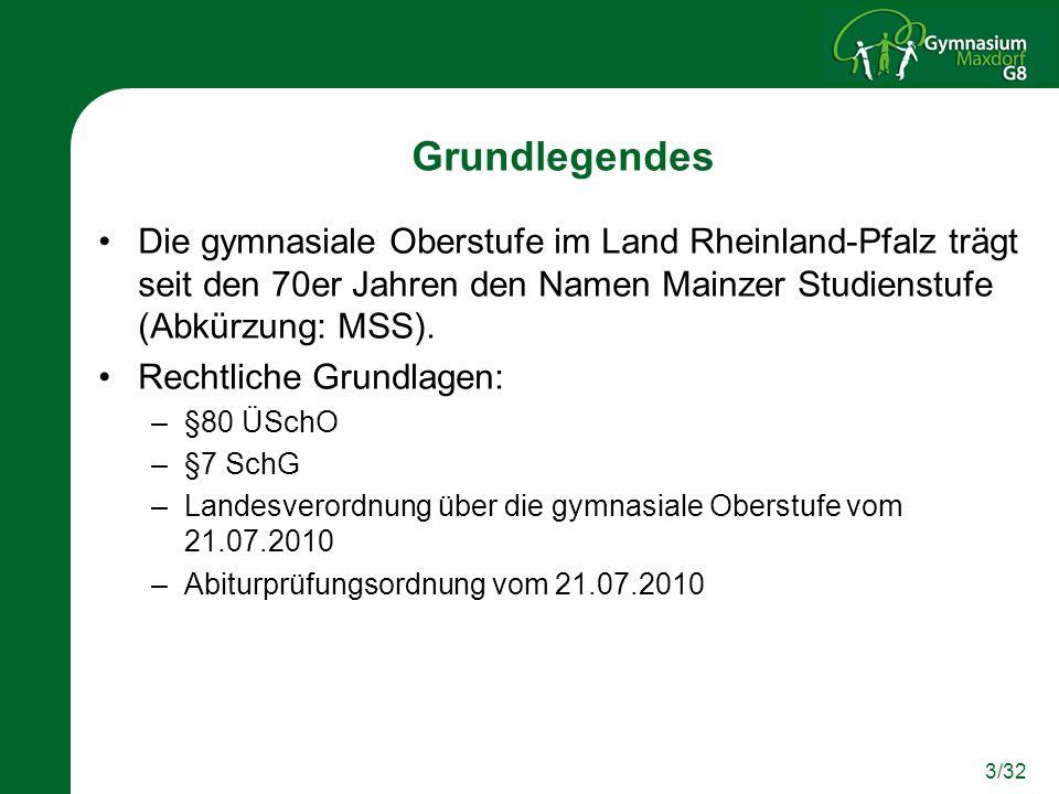 3/32 Grundlegendes Die gymnasiale Oberstufe im Land Rheinland-Pfalz trägt seit den 70er Jahren den Namen Mainzer Studienstufe (Abkürzung: MSS). Rechtl