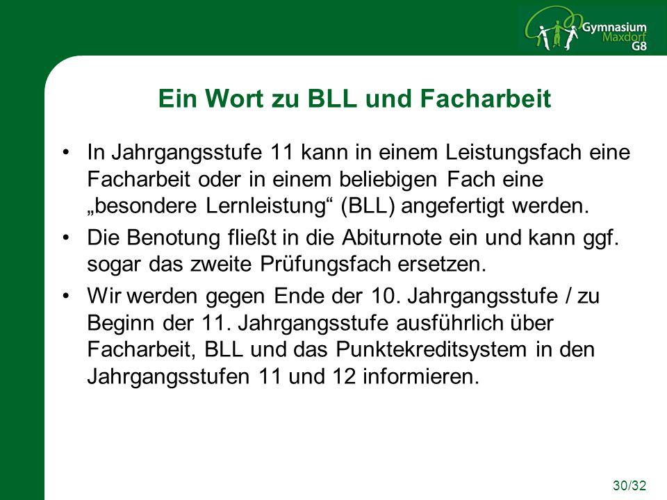 30/32 Ein Wort zu BLL und Facharbeit In Jahrgangsstufe 11 kann in einem Leistungsfach eine Facharbeit oder in einem beliebigen Fach eine besondere Ler