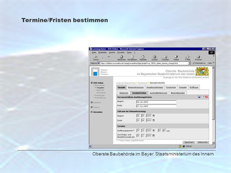 Oberste Baubehörde im Bayer. Staatsministerium des Innern Termine/Fristen bestimmen
