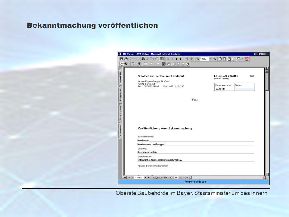 Oberste Baubehörde im Bayer. Staatsministerium des Innern Bekanntmachung veröffentlichen