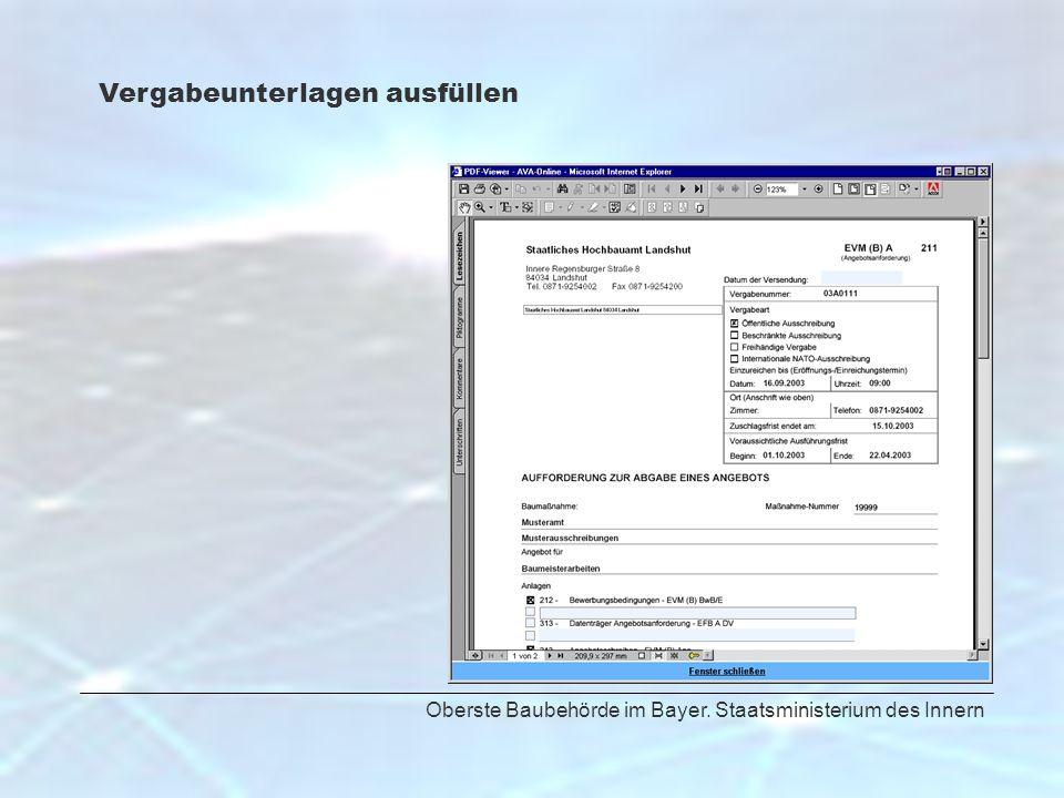 Oberste Baubehörde im Bayer. Staatsministerium des Innern Vergabeunterlagen ausfüllen