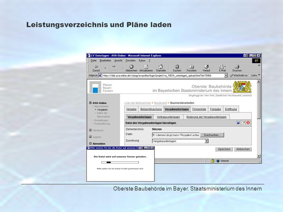 Oberste Baubehörde im Bayer. Staatsministerium des Innern Leistungsverzeichnis und Pläne laden