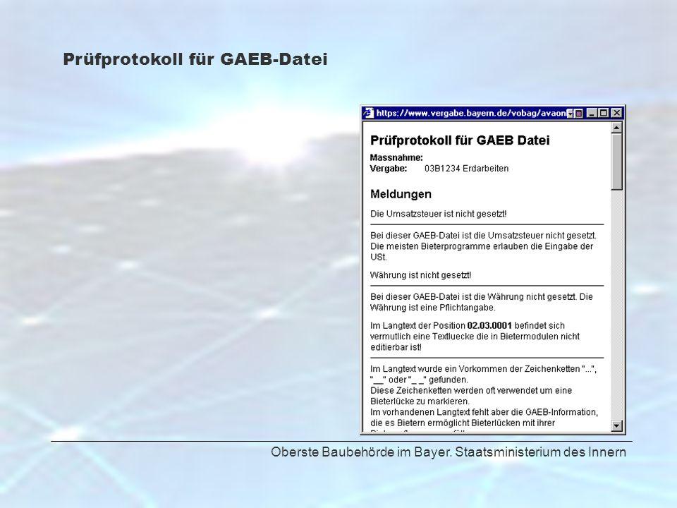 Oberste Baubehörde im Bayer. Staatsministerium des Innern Prüfprotokoll für GAEB-Datei