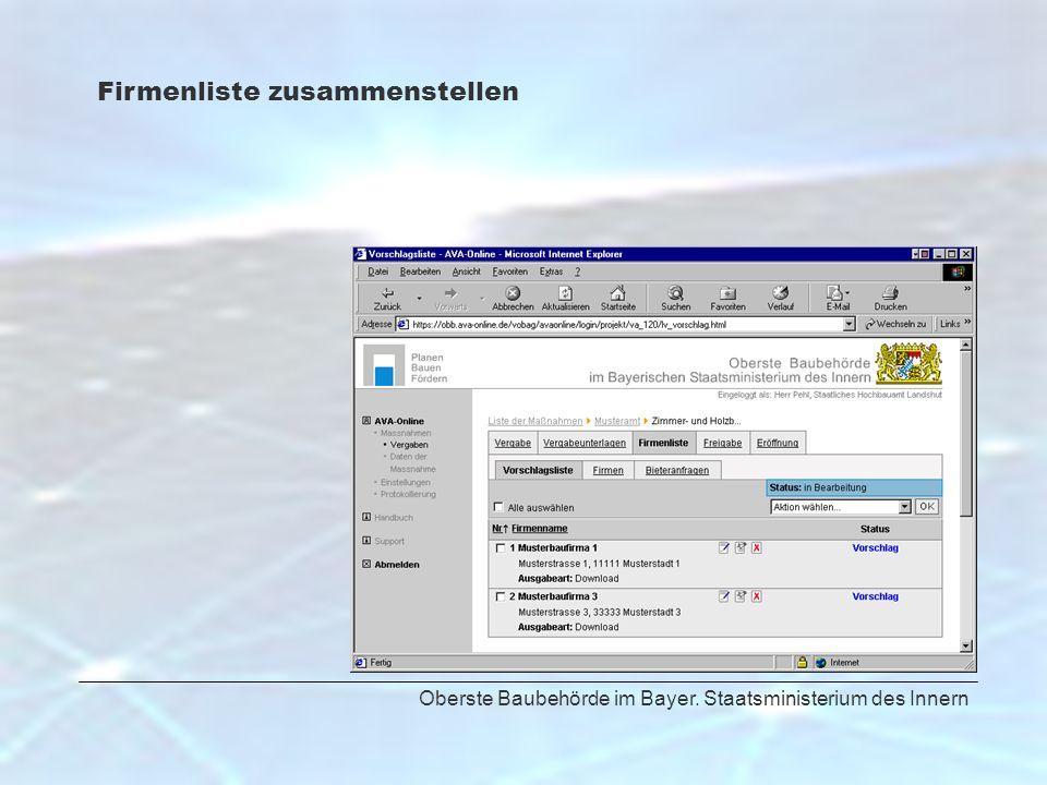 Oberste Baubehörde im Bayer. Staatsministerium des Innern Firmenliste zusammenstellen