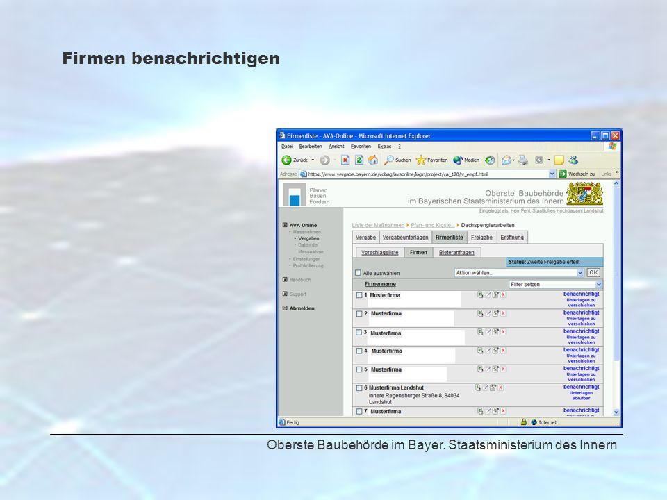 Oberste Baubehörde im Bayer. Staatsministerium des Innern Firmen benachrichtigen