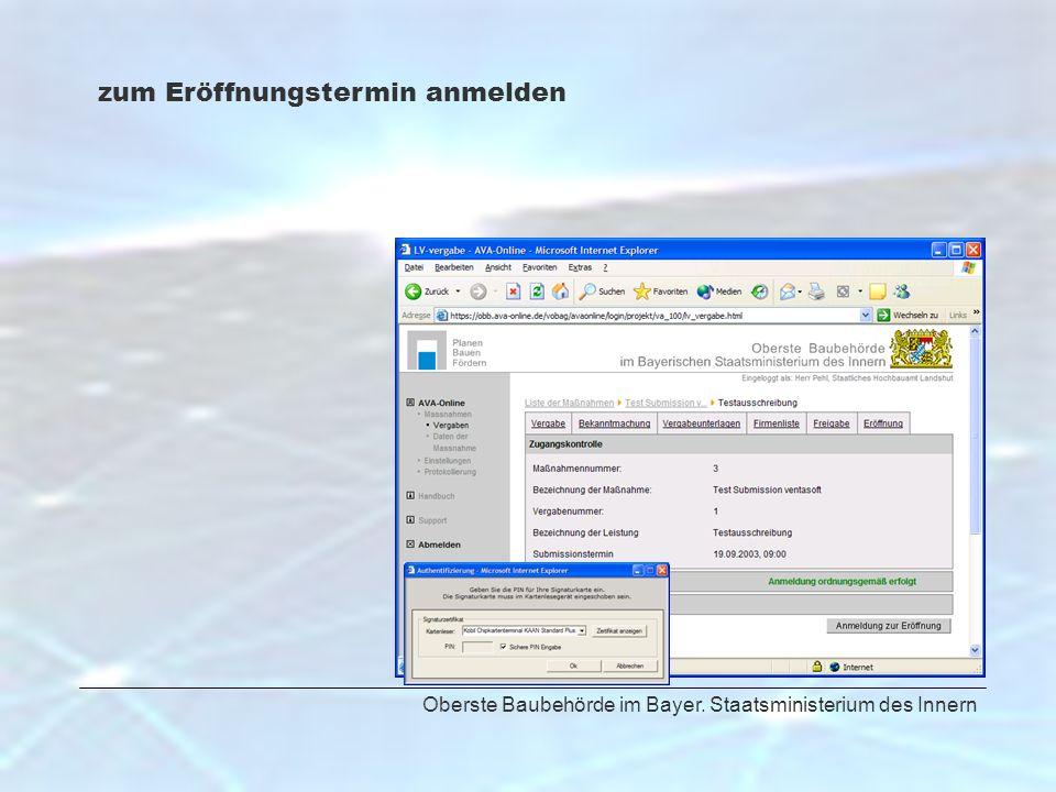 Oberste Baubehörde im Bayer. Staatsministerium des Innern zum Eröffnungstermin anmelden