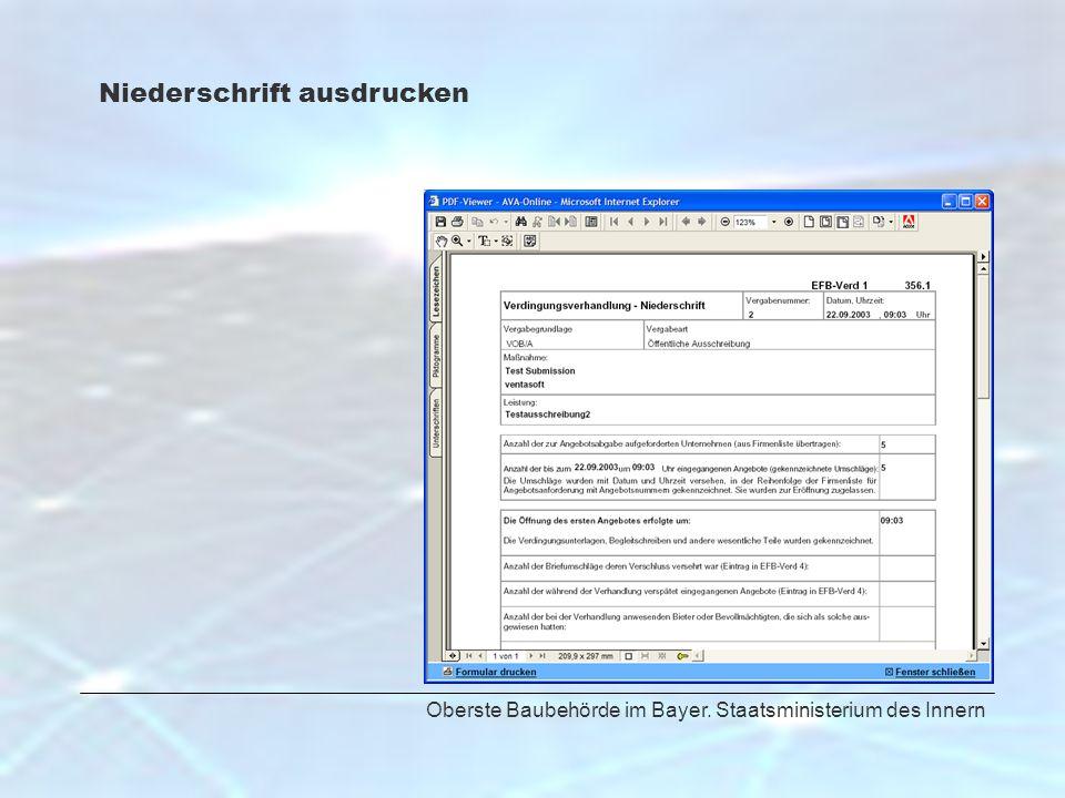 Oberste Baubehörde im Bayer. Staatsministerium des Innern Niederschrift ausdrucken
