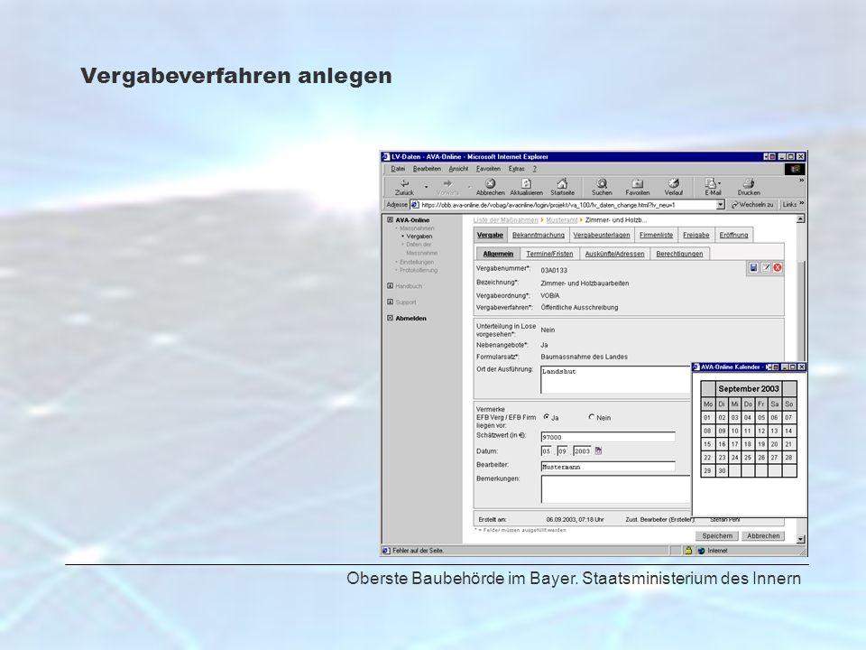 Oberste Baubehörde im Bayer. Staatsministerium des Innern Vergabeverfahren anlegen