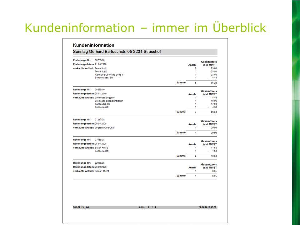 Kundeninformation – immer im Überblick