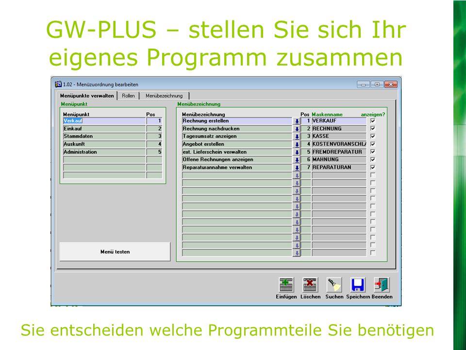 GW-PLUS – stellen Sie sich Ihr eigenes Programm zusammen Sie entscheiden welche Programmteile Sie benötigen