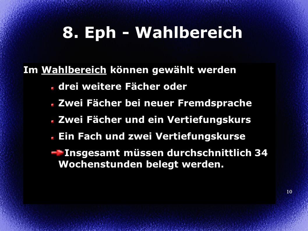10 8. Eph - Wahlbereich Im Wahlbereich können gewählt werden drei weitere Fächer oder Zwei Fächer bei neuer Fremdsprache Zwei Fächer und ein Vertiefun