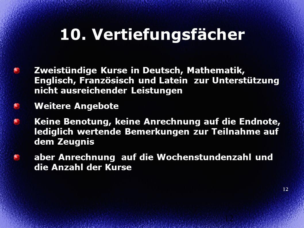 12 Zweistündige Kurse in Deutsch, Mathematik, Englisch, Französisch und Latein zur Unterstützung nicht ausreichender Leistungen Weitere Angebote Keine
