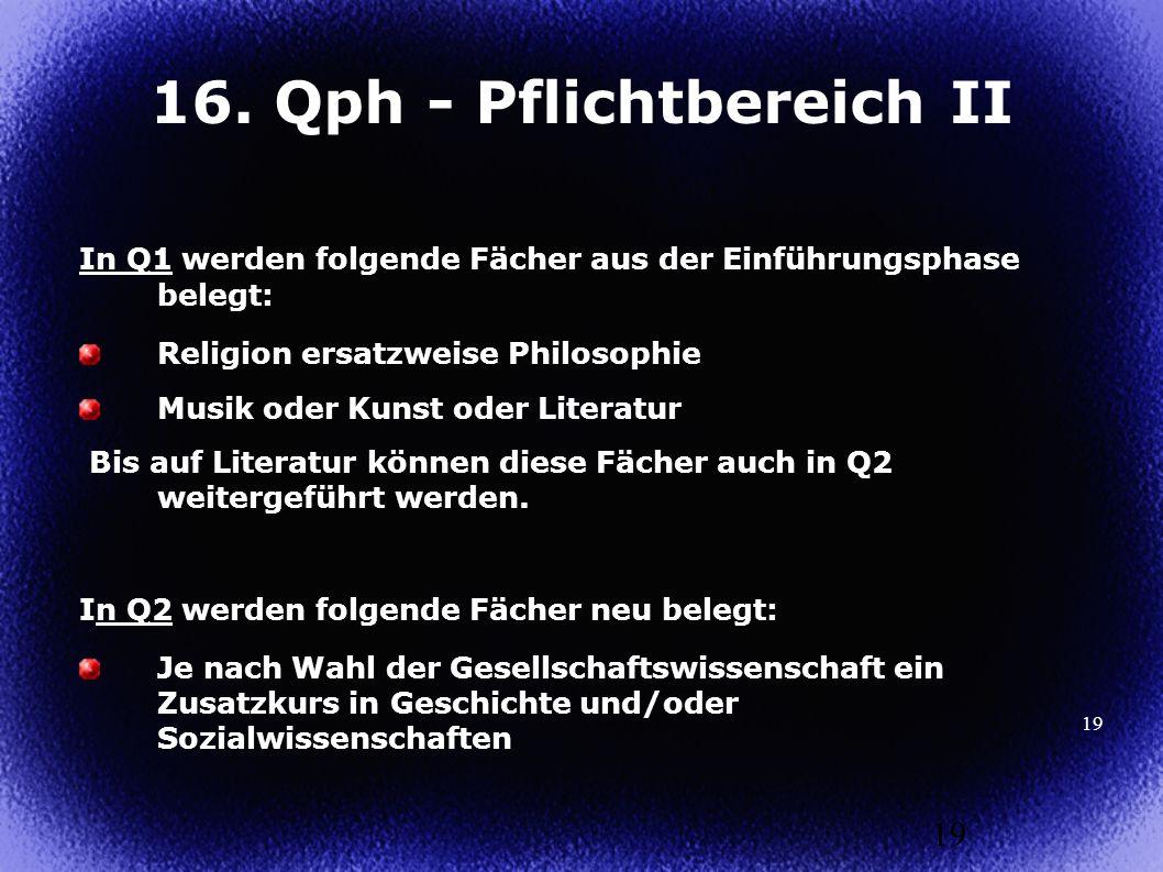 19 In Q1 werden folgende Fächer aus der Einführungsphase belegt: Religion ersatzweise Philosophie Musik oder Kunst oder Literatur Bis auf Literatur kö