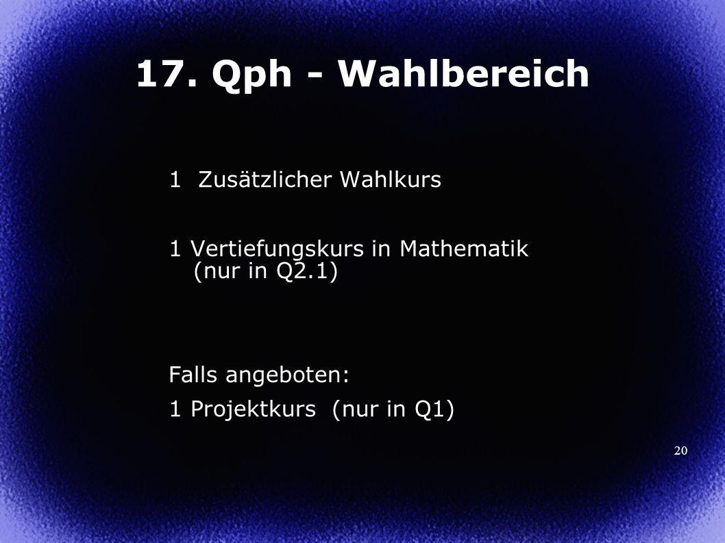 20 17. Qph - Wahlbereich 1 Zusätzlicher Wahlkurs 1 Vertiefungskurs in Mathematik (nur in Q2.1) Falls angeboten: 1 Projektkurs (nur in Q1)