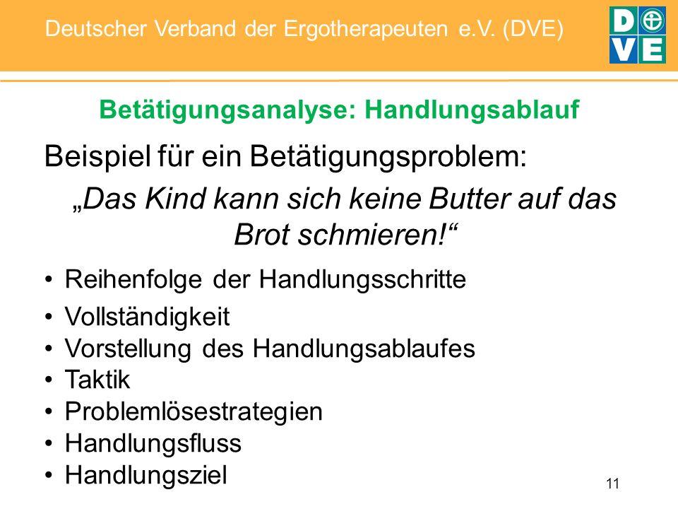 11 Deutscher Verband der Ergotherapeuten e.V. (DVE) Betätigungsanalyse: Handlungsablauf Beispiel für ein Betätigungsproblem: Das Kind kann sich keine