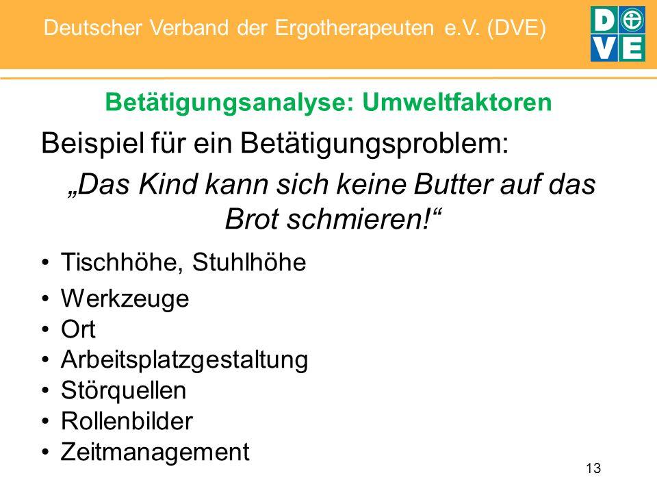 13 Deutscher Verband der Ergotherapeuten e.V. (DVE) Betätigungsanalyse: Umweltfaktoren Beispiel für ein Betätigungsproblem: Das Kind kann sich keine B