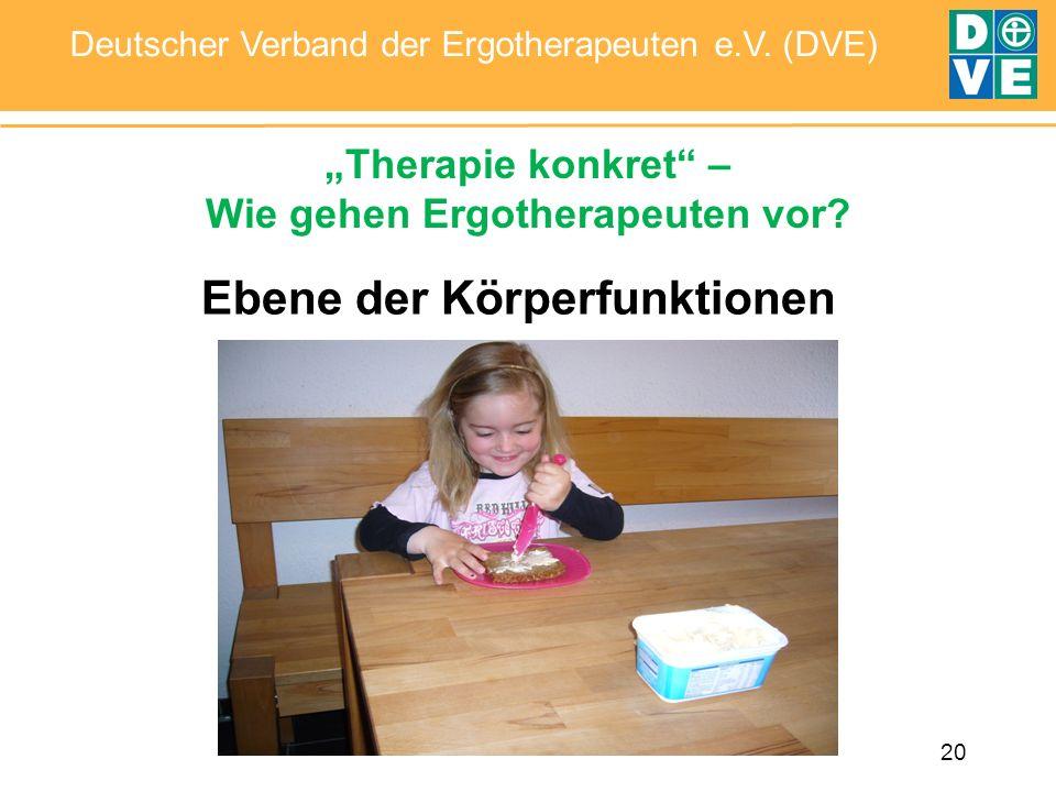 20 Deutscher Verband der Ergotherapeuten e.V. (DVE) Therapie konkret – Wie gehen Ergotherapeuten vor? Ebene der Körperfunktionen