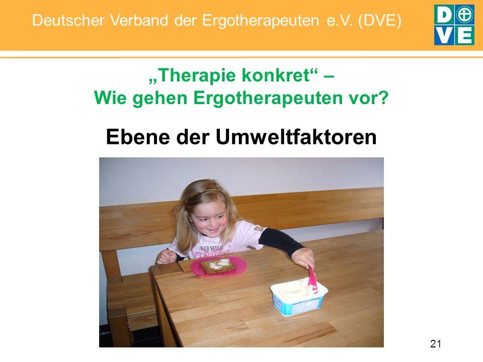 21 Deutscher Verband der Ergotherapeuten e.V. (DVE) Ebene der Umweltfaktoren Therapie konkret – Wie gehen Ergotherapeuten vor?