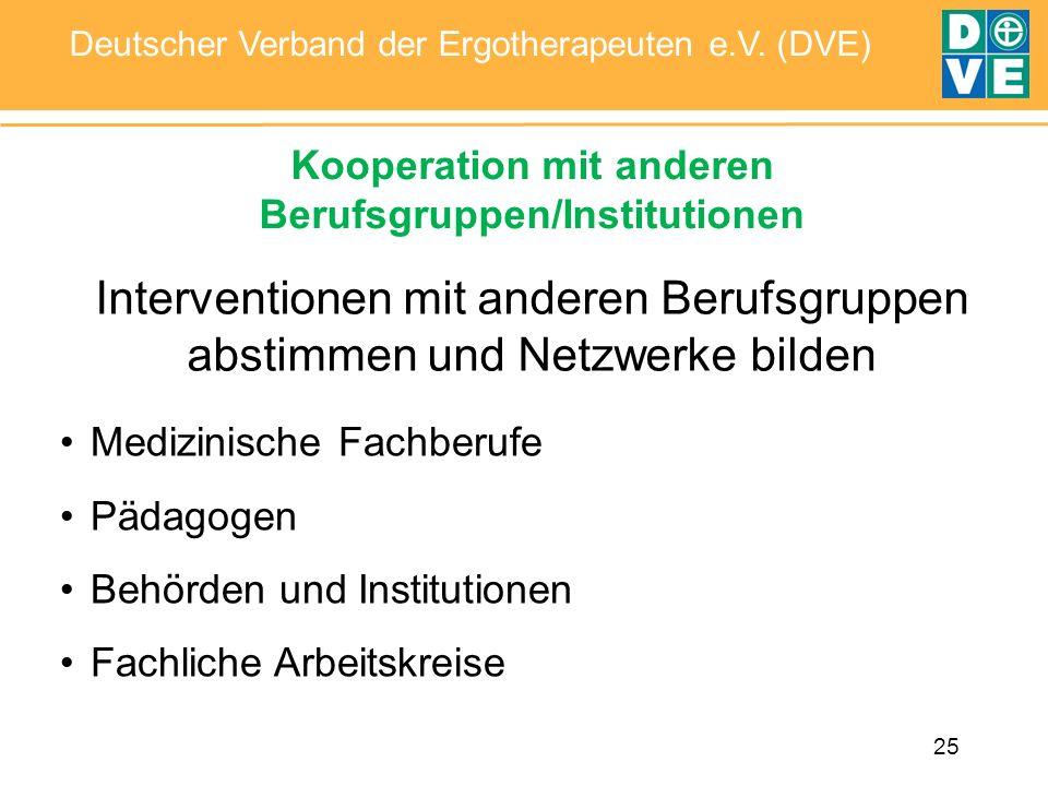25 Deutscher Verband der Ergotherapeuten e.V. (DVE) Kooperation mit anderen Berufsgruppen/Institutionen Interventionen mit anderen Berufsgruppen absti