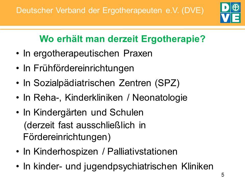 5 Deutscher Verband der Ergotherapeuten e.V. (DVE) Wo erhält man derzeit Ergotherapie? In ergotherapeutischen Praxen In Frühfördereinrichtungen In Soz