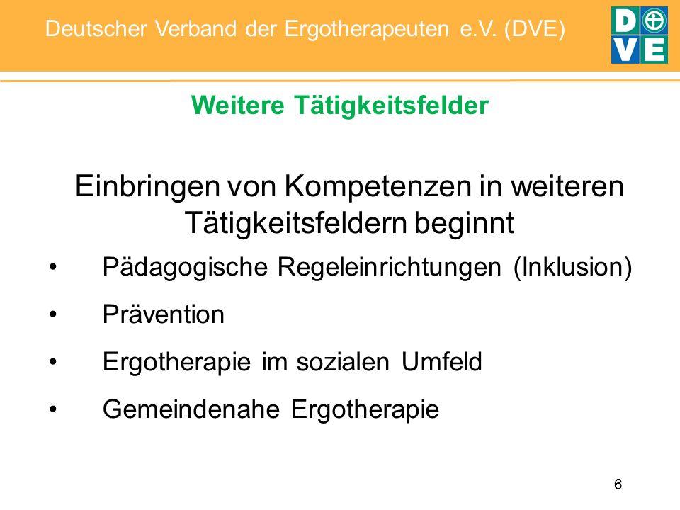 6 Deutscher Verband der Ergotherapeuten e.V. (DVE) Weitere Tätigkeitsfelder Einbringen von Kompetenzen in weiteren Tätigkeitsfeldern beginnt Pädagogis