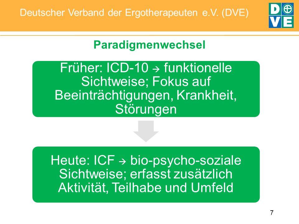 7 Deutscher Verband der Ergotherapeuten e.V. (DVE) Paradigmenwechsel Früher: ICD-10 funktionelle Sichtweise; Fokus auf Beeinträchtigungen, Krankheit,