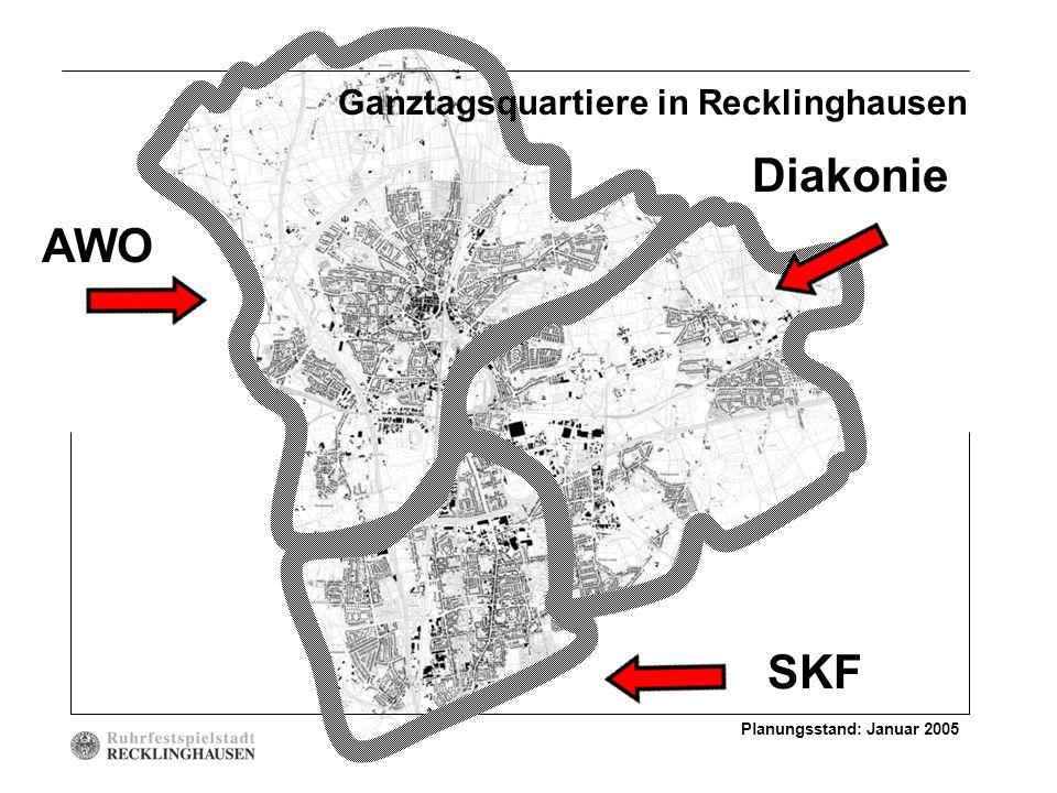 Planungsstand: Januar 2005 AWO Diakonie SKF Ganztagsquartiere in Recklinghausen