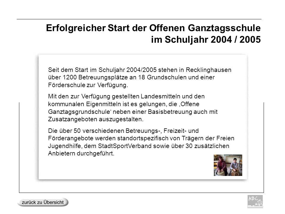 Erfolgreicher Start der Offenen Ganztagsschule im Schuljahr 2004 / 2005 Seit dem Start im Schuljahr 2004/2005 stehen in Recklinghausen über 1200 Betre