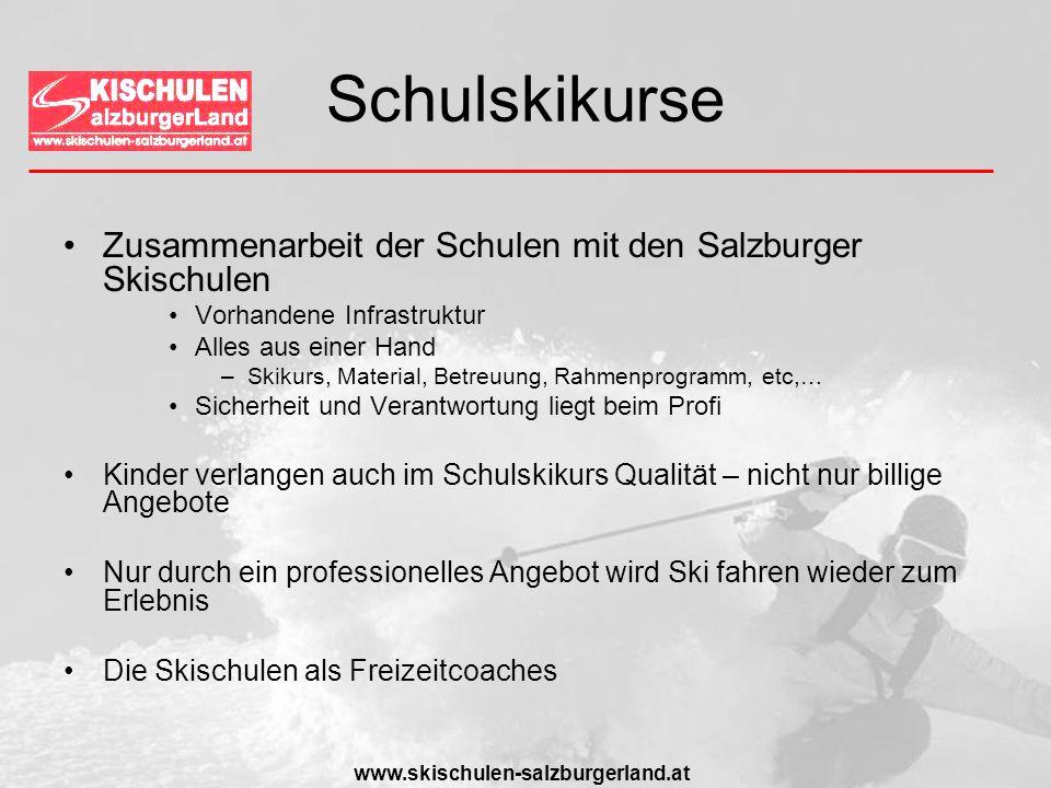 www.skischulen-salzburgerland.at Schulskikurse Zusammenarbeit der Schulen mit den Salzburger Skischulen Vorhandene Infrastruktur Alles aus einer Hand