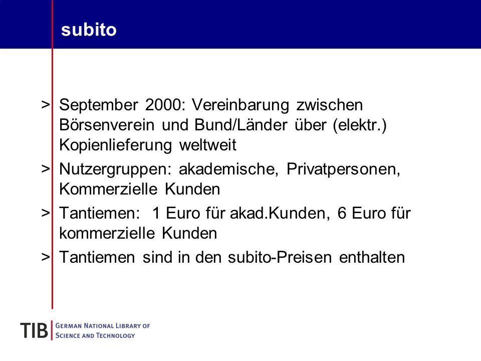 Klagen und Verhandlungen I >Verhandlungen zwischen subito und STM seit Frühjahr 2003 >Klage gegen ZBMed aus USA und UK >Klage von Börsenverein und STM Stichting gegen subito im Juni 2004