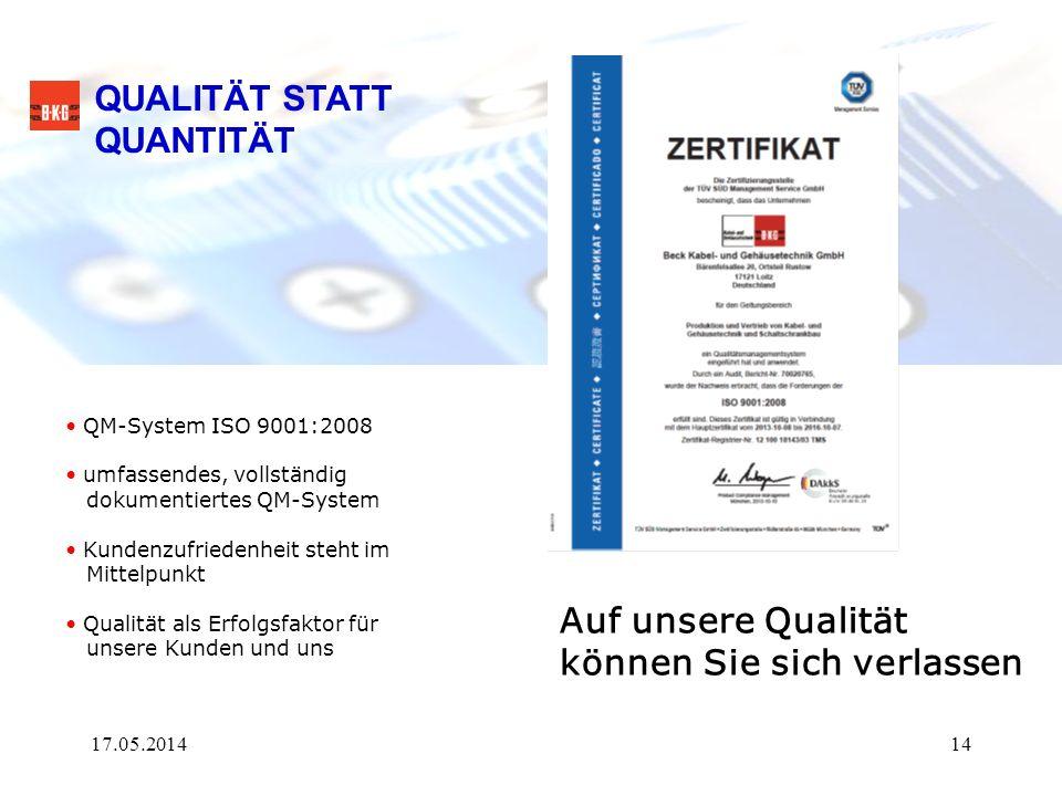 QUALITÄT STATT QUANTITÄT Auf unsere Qualität können Sie sich verlassen QM-System ISO 9001:2008 umfassendes, vollständig dokumentiertes QM-System Kunde